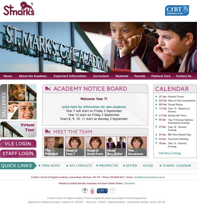 Enlarge St Mark's Academy website design