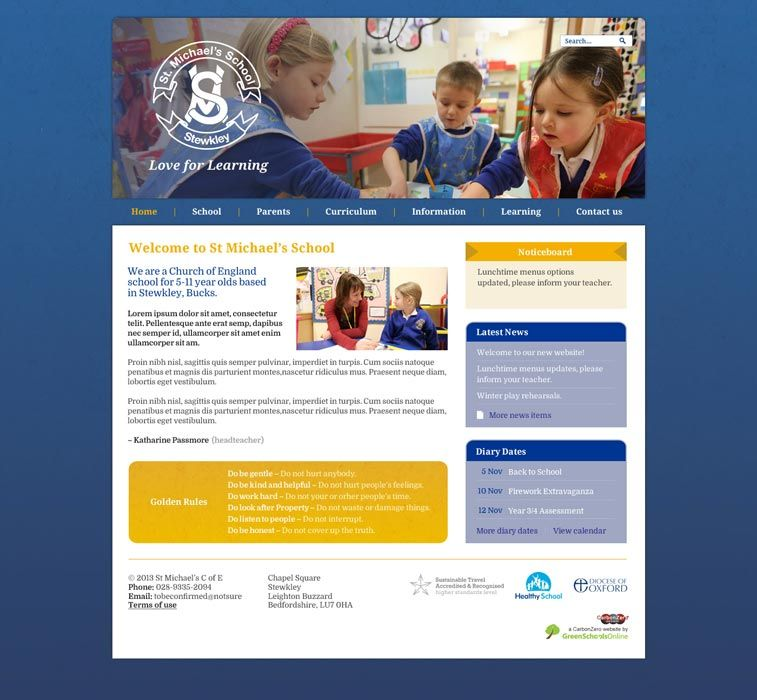 Enlarge St Michaels School (Stewkley) website design
