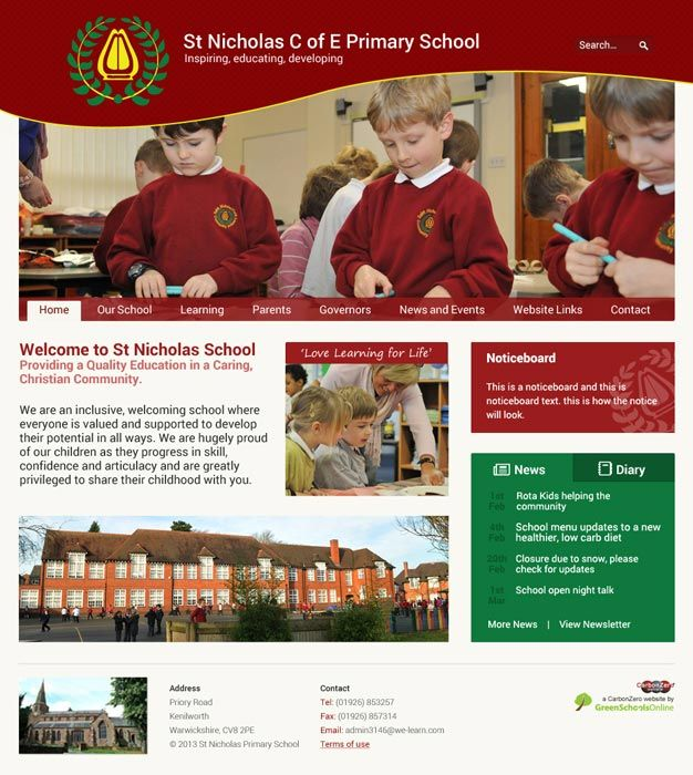 Enlarge St Nicholas Primary School, Kenilworth website design