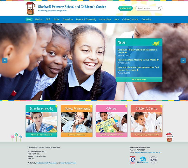 Enlarge Stockwell Primary website design