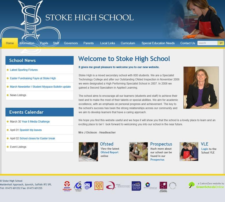 Enlarge Stoke High School website design