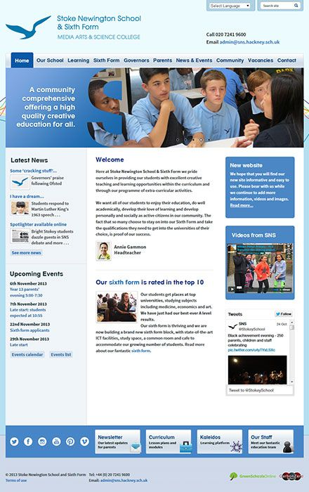 Enlarge Stoke Newington School and Sixth Form website design