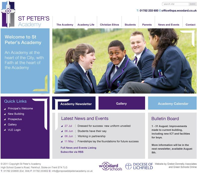 Enlarge St Peter's Academy (Stoke) website design