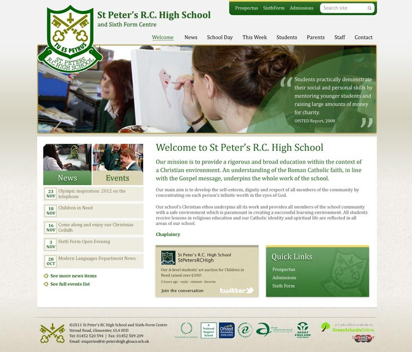 Enlarge St Peter's High School (Glos) website design