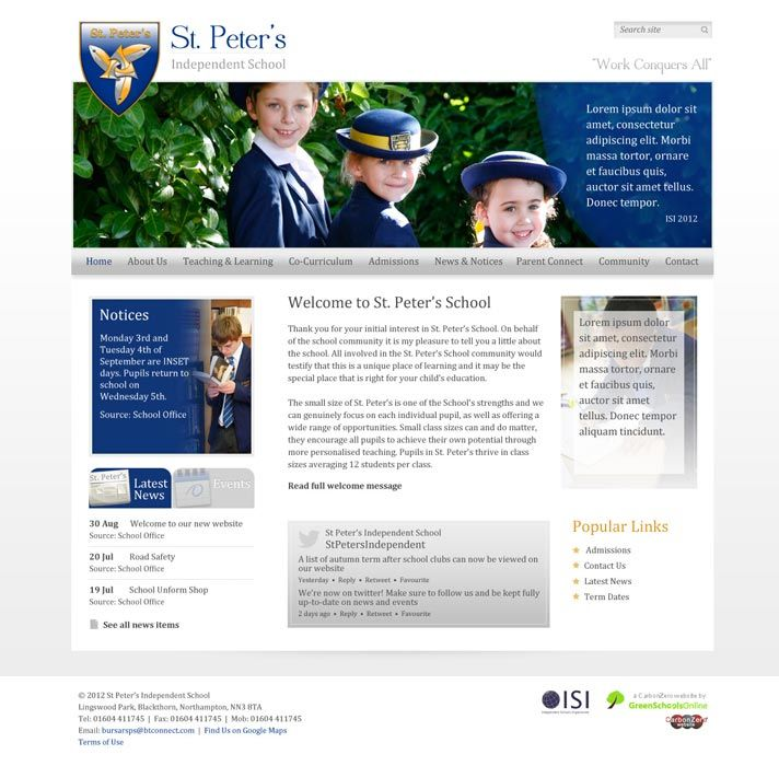 Enlarge St Peter's Independent School website design