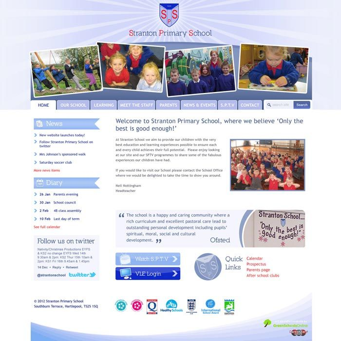 Enlarge Stranton Primary School website design