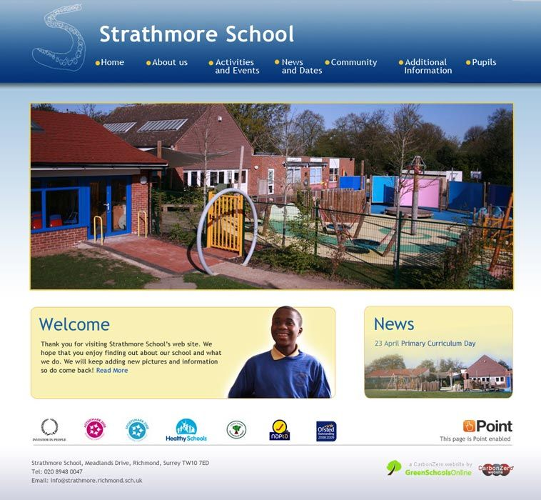 Enlarge Strathmore School website design