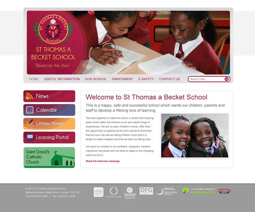 Enlarge St Thomas a Beckett Primary website design