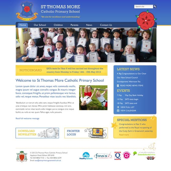 Enlarge St Thomas More Primary website design