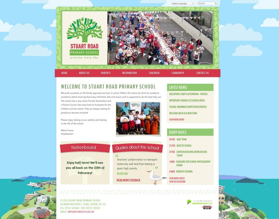 Enlarge Stuart Road Primary School website design