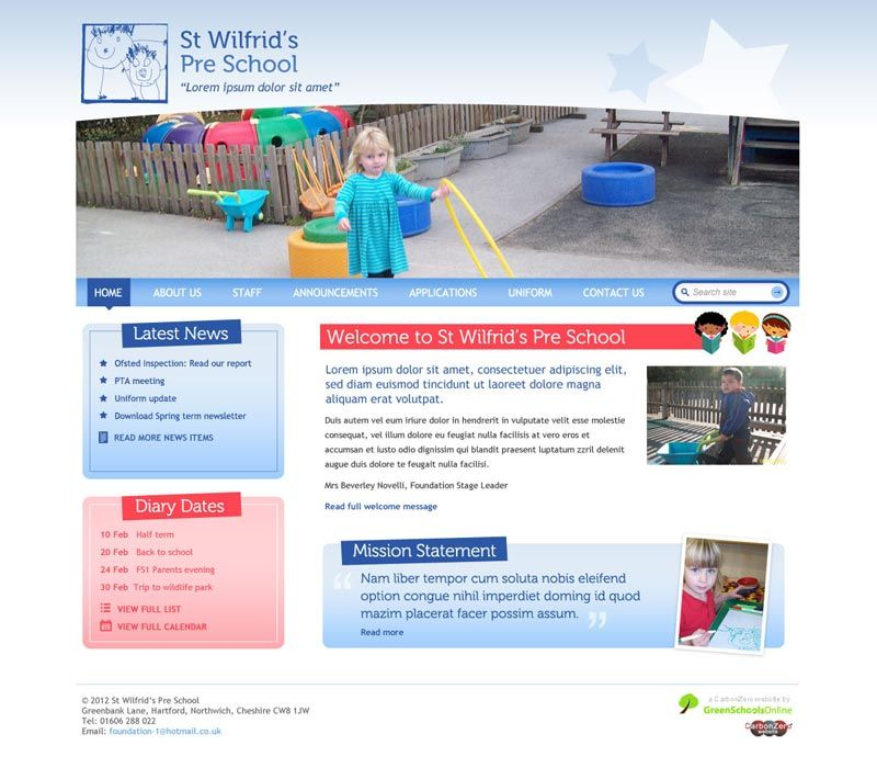 Enlarge St Wilfrid's Pre School website design