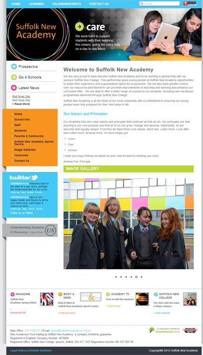 Enlarge Suffolk New Academy website design