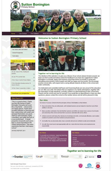 Enlarge Sutton Bonington website design