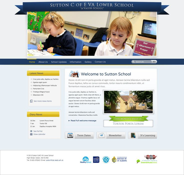 Enlarge Sutton C of E VA Lower School website design