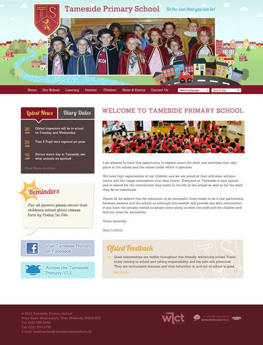 Enlarge Tameside Primary School website design