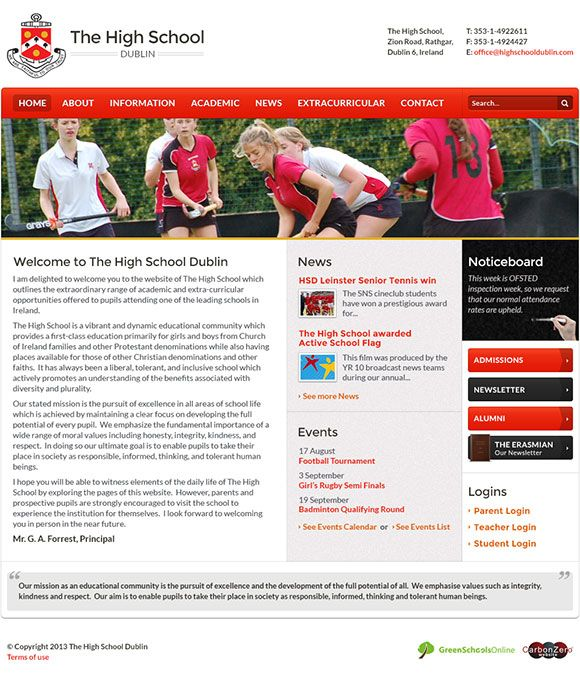 Enlarge The High School, Dublin website design
