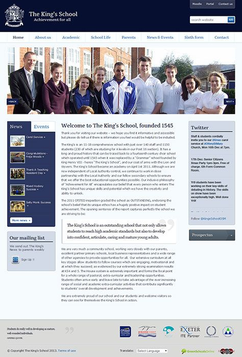 Enlarge The King's School website design