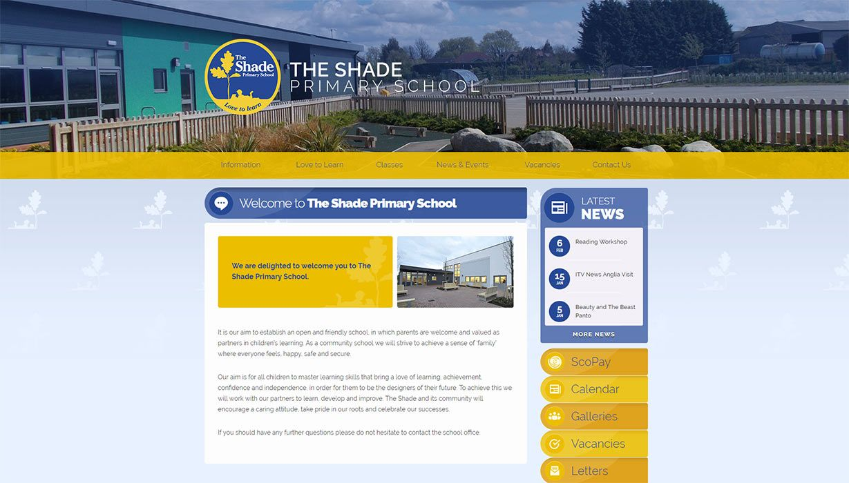 Enlarge The Shade Primary School website design