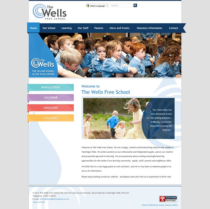 Enlarge The Wells Free School website design