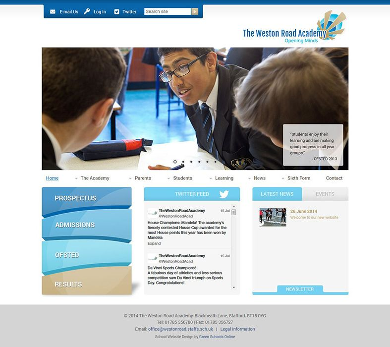 Enlarge The Weston Road Academy website design
