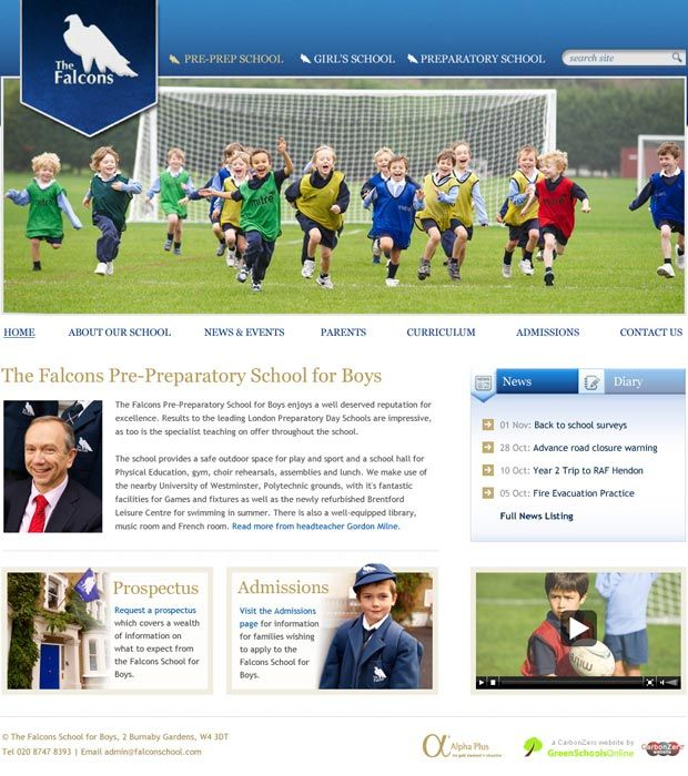 Enlarge The Falcons School for Boys website design