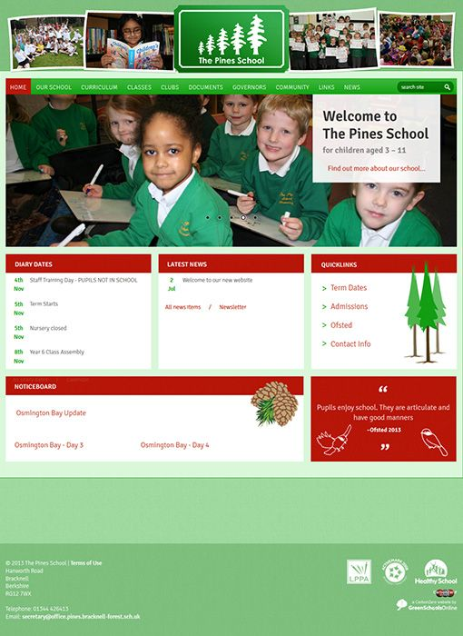 Enlarge The Pines School website design