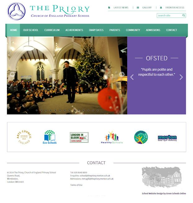 Enlarge The Priory, Church of England Primary School website design