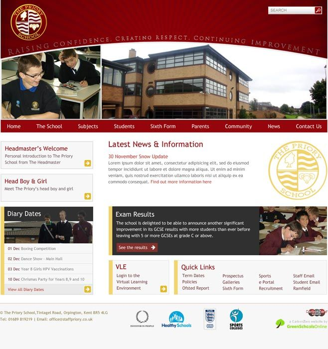 Enlarge The Priory School website design