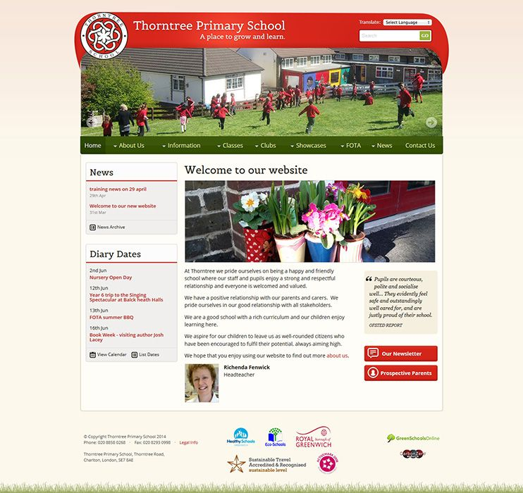 Enlarge Thorntree Primary School website design