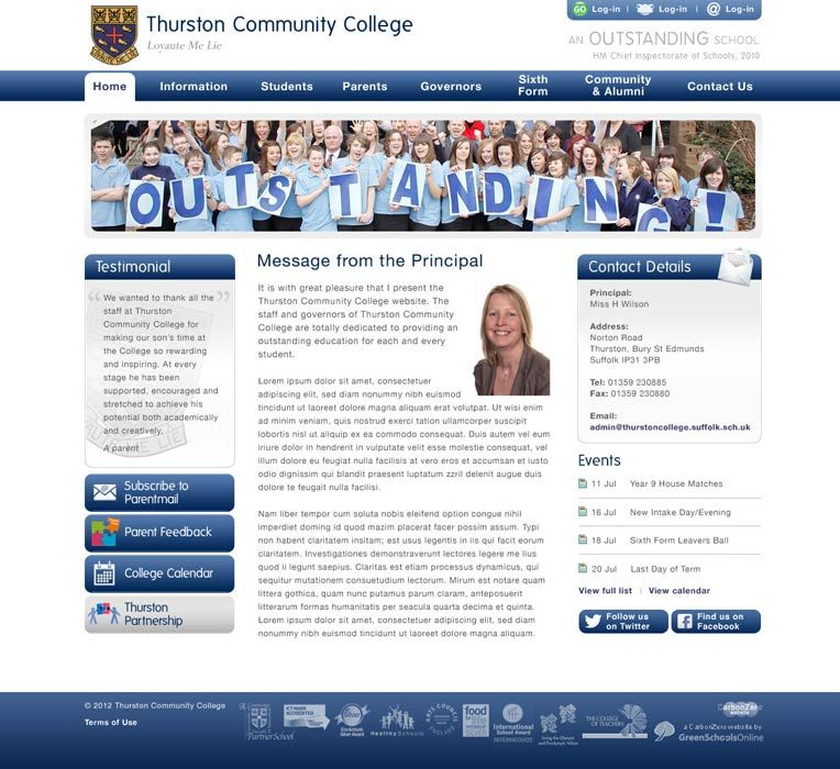 Enlarge Thurston College website design