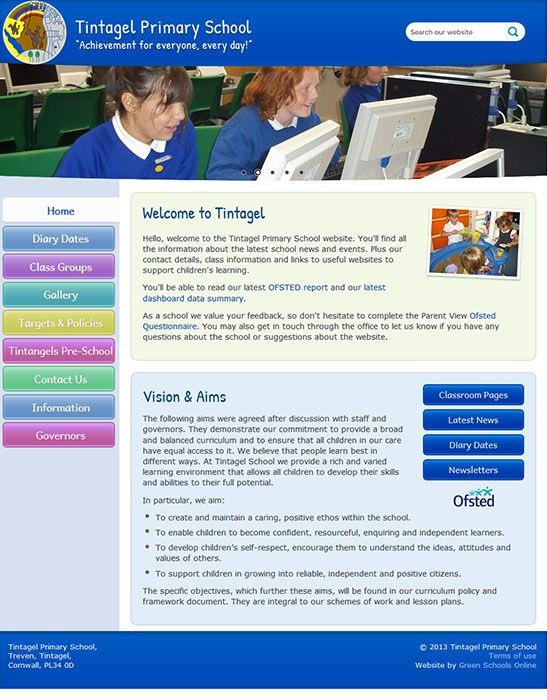 Enlarge Tintagel Primary School website design
