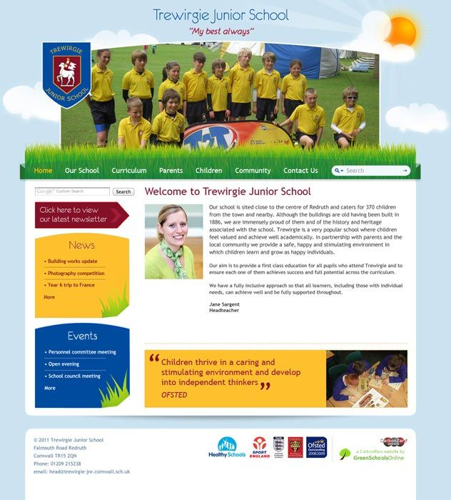 Enlarge Trewirgie Junior School website design