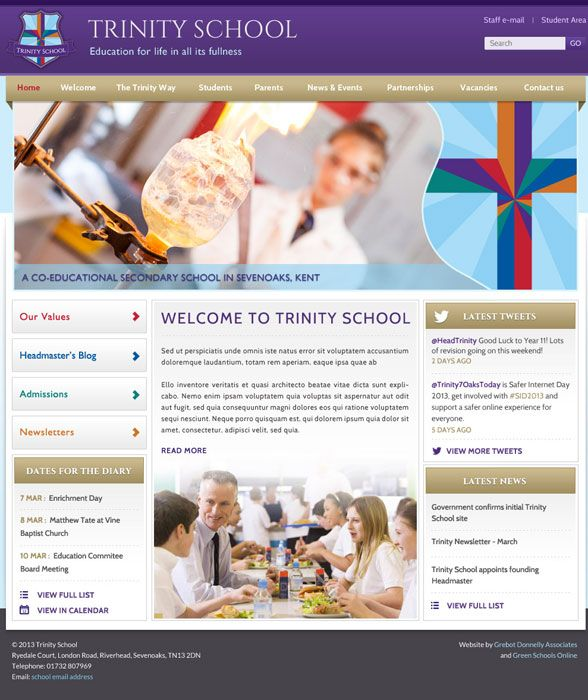 Enlarge Trinity Free School website design