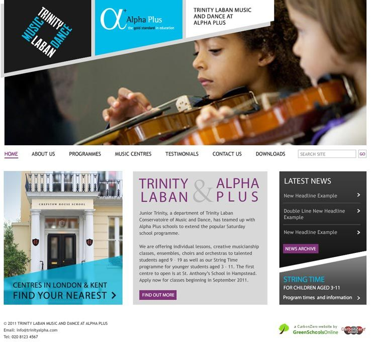 Enlarge Trinity Laban at Alpha Plus website design