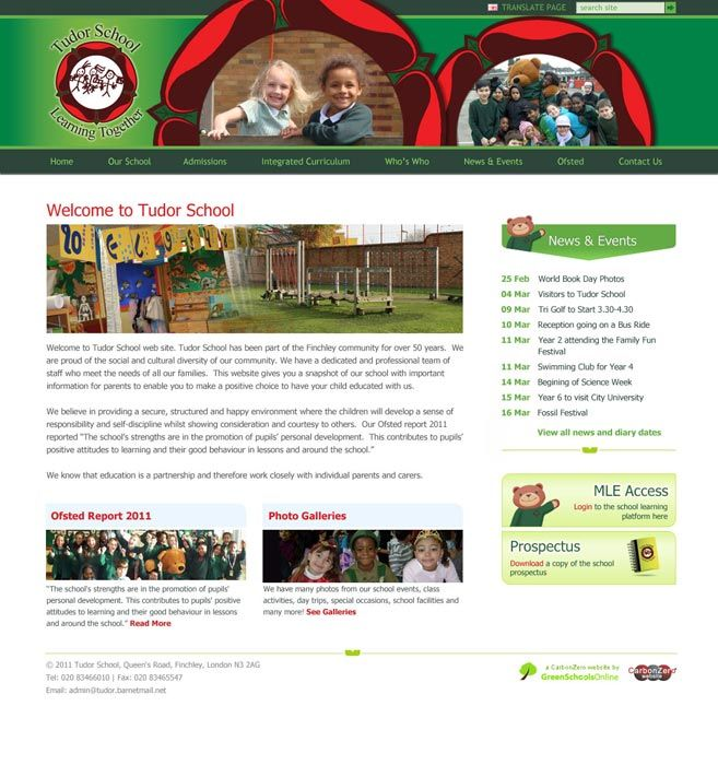 Enlarge Tudor Primary School website design