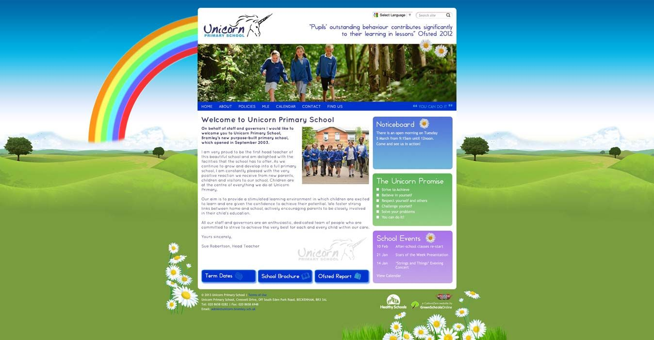 Enlarge Unicorn Primary School website design