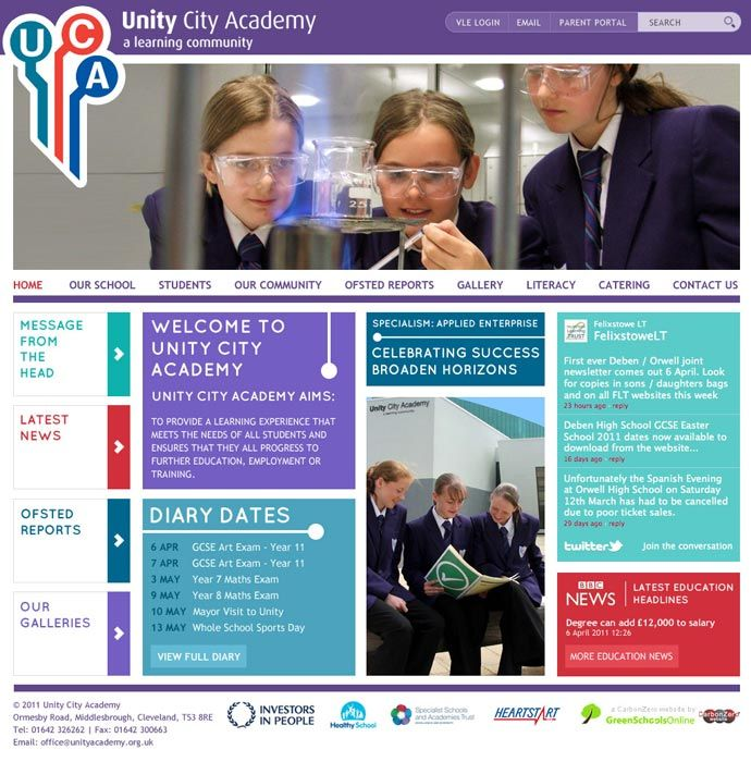 Enlarge Unity City Academy website design