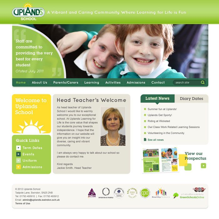 Enlarge Uplands School website design