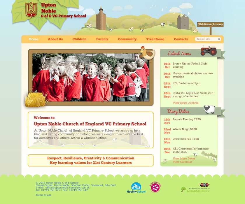Enlarge Upton Noble CEVC Primary School website design