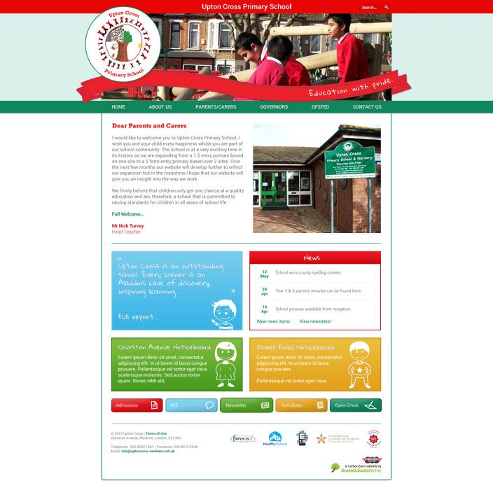 Enlarge Upton Cross Primary School website design
