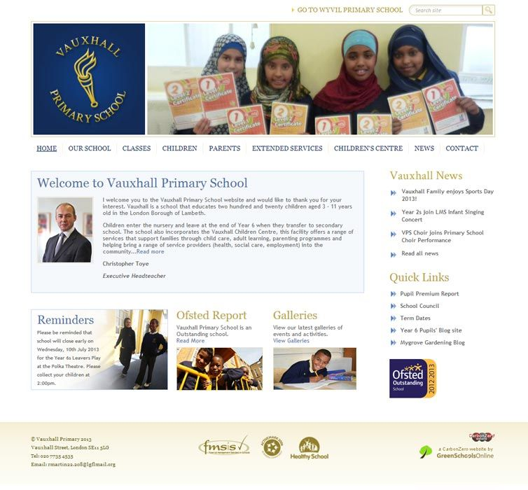 Enlarge Vauxhall Primary School website design