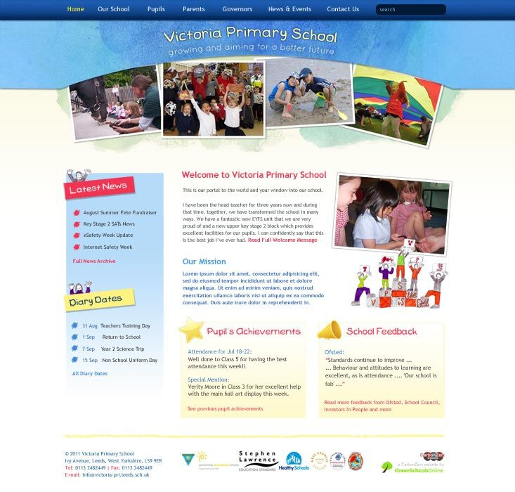 Enlarge Victoria Primary School website design