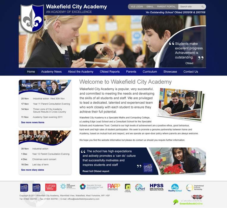 Enlarge Wakefield City Academy website design