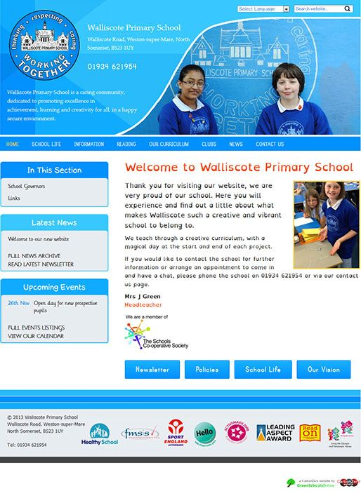 Enlarge Walliscote Primary School website design