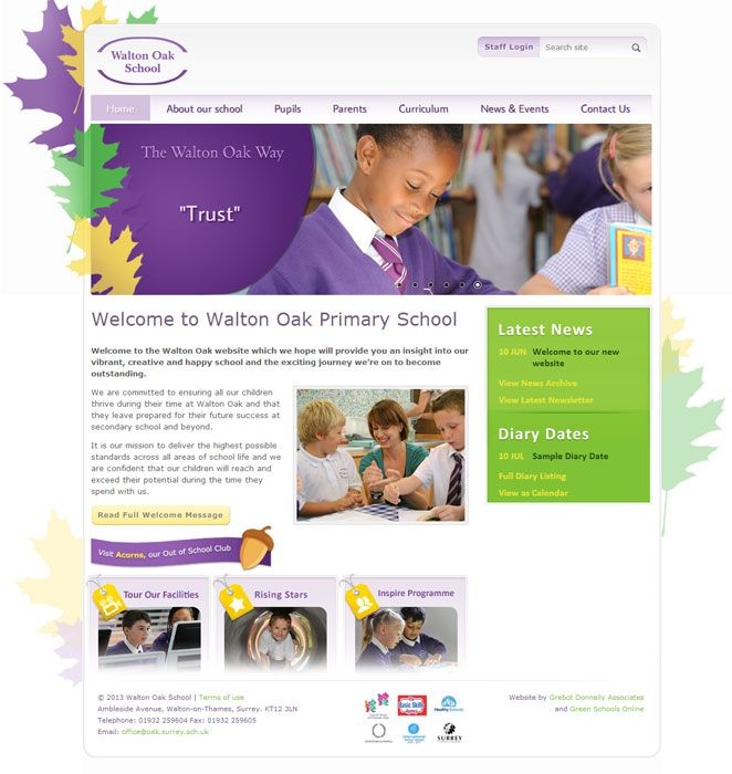 Enlarge Walton Oak School website design
