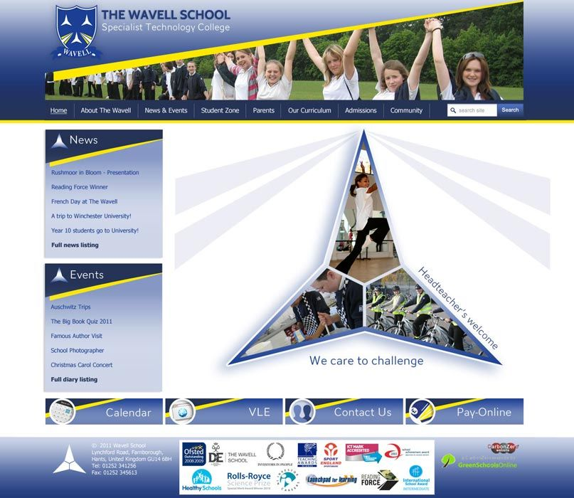 Enlarge Wavell School website design