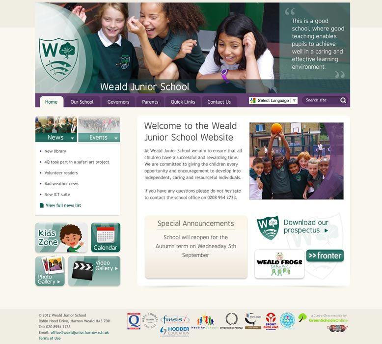 Enlarge Weald Junior School website design