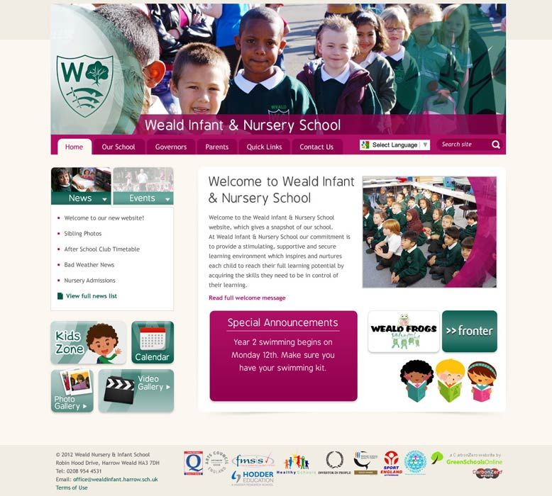 Enlarge Weald Infant & Nursery School website design