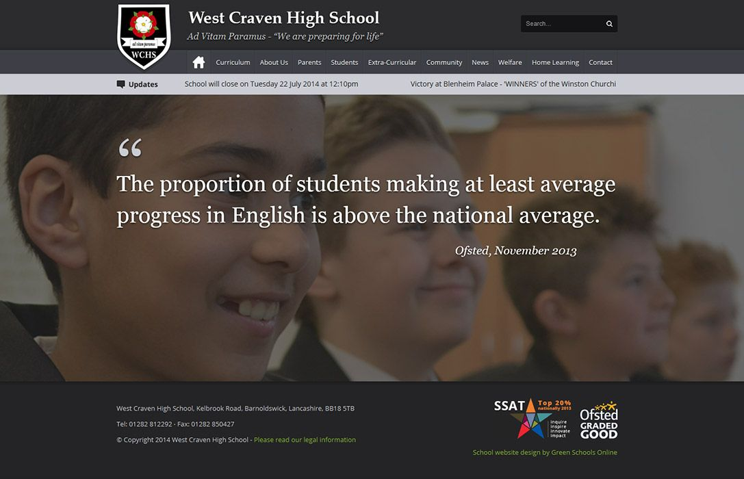 Enlarge West Craven High School website design