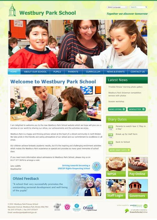 Enlarge Westbury Park Primary School website design